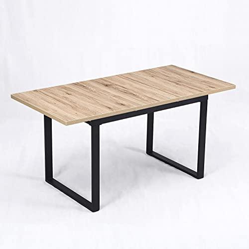 B&D home Esstisch ausziehbar, ausziehbarer Kufentisch für 4-6 Personen, Holztisch Eiche Optik, Kufengestell schwarz, für Esszimmer, Küche, Industrie-Design, 120-160x80 cm