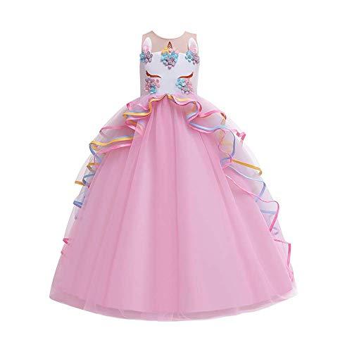 OwlFay Disfraz de Unicornio Niñas Chicas Vestido Unicornio Princesa Traje de Carnaval Cumpleaños Comunión Cosplay Costume Rosa 10-11 Años