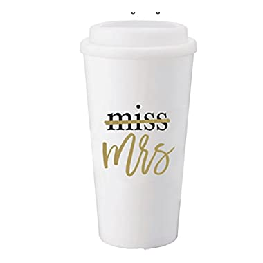 Miss to Mrs Bride Tumbler Water Bottle (White) 12 oz, Engagement Gift, Wedding Gift, Mrs, Bridal
