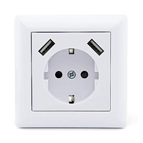 USB Steckdose Weiß Unterputz Kindersicherung Schuko Wandsteckdose USB-Port Ladegerät für Smartphone, Mp3-Player, Tablets ect. (MAX 2.8A)