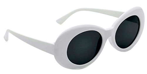 Women's Round Retro Oval Sunglasses Color Tint Lenses Clout Goggles, 1 White, Smoke, Large