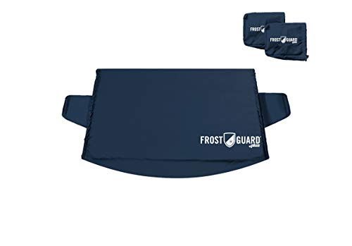FrostGuard Premium Windshield Snow Cover with Side Mirror Covers, Wiper Cover & Security Panel, Indigo (X-Large)