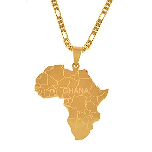 Colgante para mujer y hombre, diseño de mapa africano, joya de regalo, joya dorada # J0584
