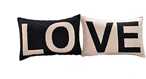lulongyansf Pack de 2 Blanco Negro Algodón Serie Amor Lino Decorativo Almohadilla de Tiro de la Caja Cojín Almohada para el sofá Cama para el automóvil 50x75 cm