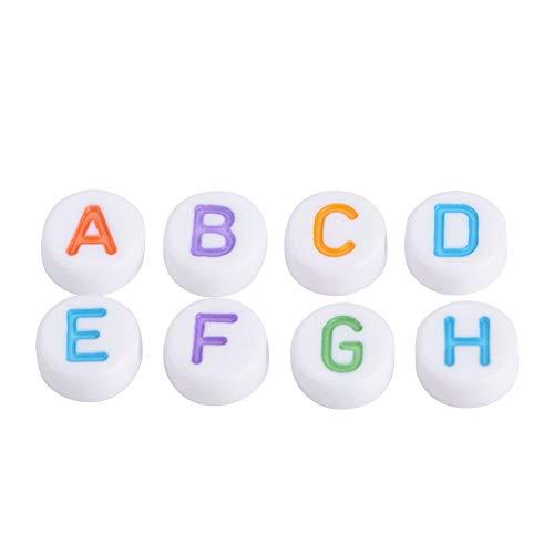 Zopsc-1 Letras de Abalorios, 500 Piezas de Abalorios de Letras, Muy Bien Impresos, interesantes y prácticos, 7 Colores para Pulseras, Collares, llaveros, Manualidades para niños