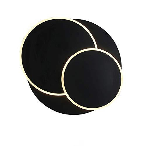 Lámpara de pared decorativa creativa, giratoria, redonda, sencilla y moderna, para salón, comedor, escaleras, estudio, dormitorio, cama, lámpara de pared (color: negro, tamaño: luz blanca)