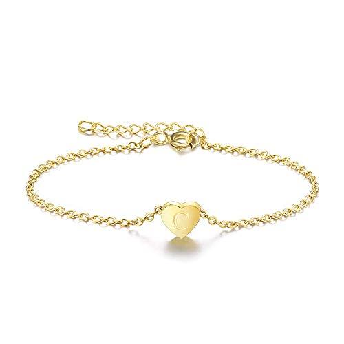 OSIANA Initial Charm Bracelet C,14K Gold Plated Dainty Engraved Letters Heart Adjustable Bracelet for Women B C Gold Bracelets