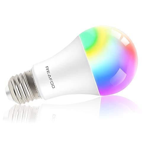 REAFOO Lampadina Intelligente Wifi LED E27 9W Smart Lampadine Dimmerabile Multicolore RGB + W Telecomando per iOS Android App Controllata Compatibile con Alexa Echo e Google Home (1 Pack)