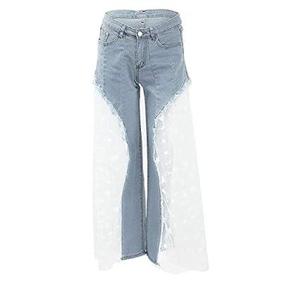 HOSDSexy Women Wide Leg Mesh Splice Denim Pants High Waist Casual Loose Pants Jeans Blue by HOSD