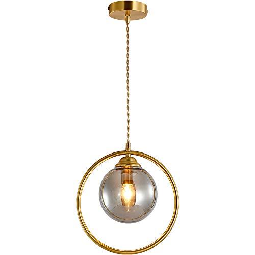 SFRIDQ Lámpara Colgante de Barra de Restaurante de Cobre nórdico, Personalidad Simple y Creativa, lámpara Colgante de cabecera de Dormitorio con una Sola Cabeza, lámpara Colgante