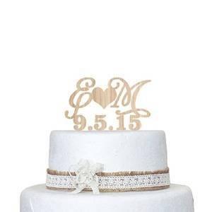 Topper per torta nuziale, Sposi con iniziale personalizzabile con nome e data delle nozze