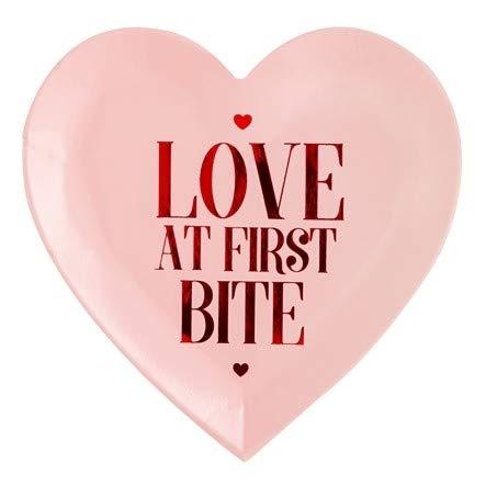 Party-Teller LOVE AT FIRST BITE Papp-Teller Einweg-Teller Herz rosa & rot Tisch-Deko Junggesellinnenabschied Hochzeits-Deko JGA-Party Valentins-Tag Candy-Bar Geburtstags-Feier Sommer-Fest (6 Teller)