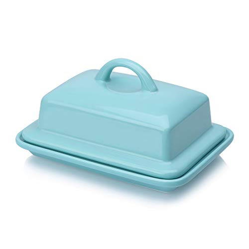 Blue Butter Dish with Lid, Butter dish with handle for 8oz European Butter and 2 Sticks of East West Coast Butter, Porcelain - Better Butter & Beyond