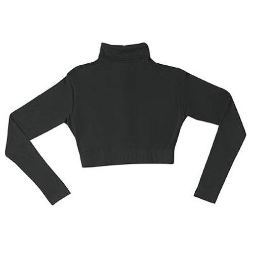 Poly Blend Mock Turtleneck Cheer Half-Top (AL, Black) - http://coolthings.us