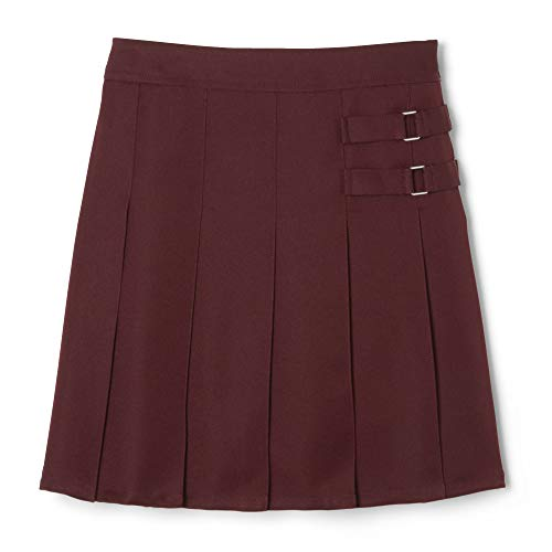 French Toast  Girls' Two-Tab Pleated Scooter skirt, Burgundy, 8,Big Girls