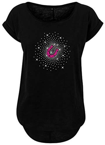 BlingelingShirts Damen Fun Shirt Reiten Pferde Reiterin Hufeisen kristall und pink Pferd, schwarz, Gr. S Evi