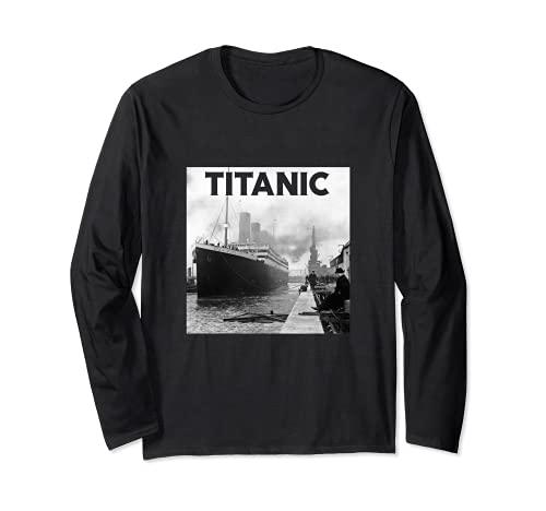 Titanic Ship 1912 - Póster de desastre del mar del fregadero del océano Atlántico Manga Larga