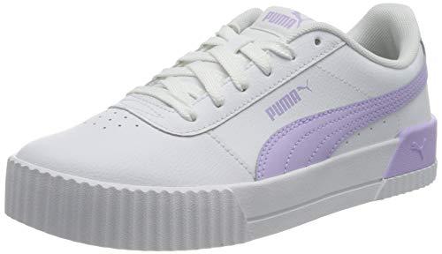 PUMA Damen Carina L Sneaker, Puma Weiß hell Lavendel, 7 UK