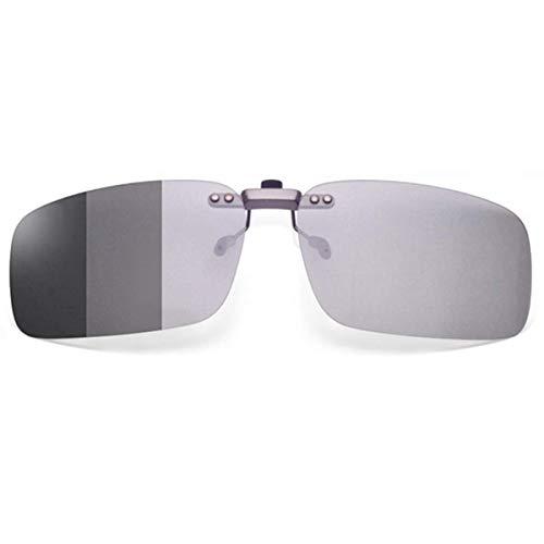 クリップオン サングラス めがねの上から 調光 偏光 変色 固定タイプ メガネ 取り付け 偏光サングラス ドライブ 運転 昼夜兼用 メガネの上からかけるサングラス (固定タイプ偏光変色レンズ)