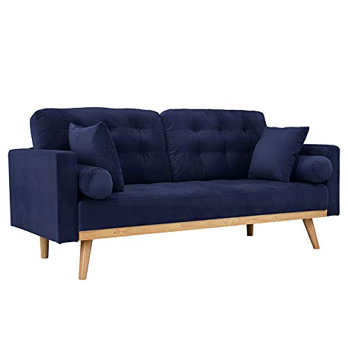 Casa Andrea Milano llc Mid Century Modern Tufted Upholstered Fabric Sofa Couch, Navy Velvet