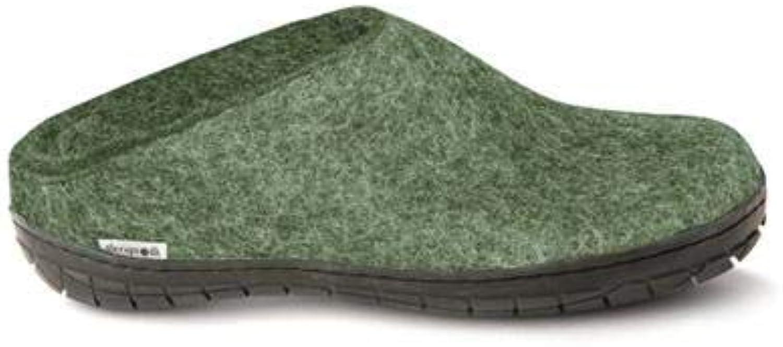 Glerups Unisex Open Heel Wool Slipper with Black Rubber Sole