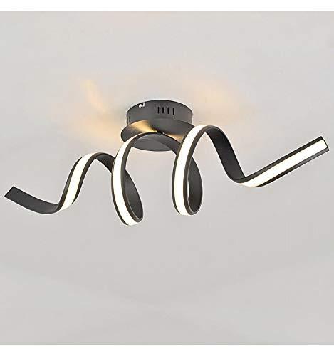 KOSILUM - Grande Applique ou Plafonnier ondulée ruban LED noir - Kauai - Lumière Blanc Chaud Eclairage Salon Chambre Cuisine Couloir - 24W - 1450 lm - LED intégrée - IP20
