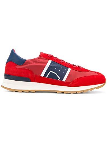 Moda De Lujo | Philippe Model Hombre PSLUB001 Rojo Cuero Zapatillas | Temporada Outlet