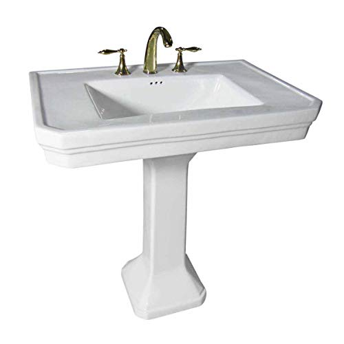 Victorian 32' Large Pedestal Bathroom Sink Heavy Duty Porcelain...