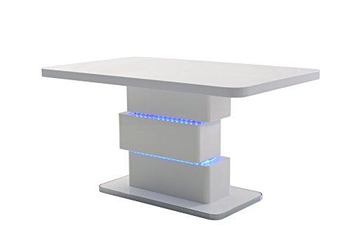 HOMEXPERTS, Esszimmertisch SLICE, Moderner Esstisch 140 cm mit blauer LED Beleuchtung, Designermöbel in Hochglanz weiß, Bodenplatte mit verchromten Rand, B 140, H 76, T 90 cm