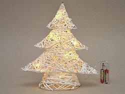 Hübscher LED Tannenbaum 30x30x7 cm Weihnachtsbaum weiß mit 10 LEDs batteriebetrieben Aufsteller Tannen Weihnachten Licht Fenster Schmuck Baum