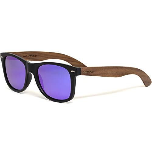 Wood Sunglasses Men and Women with Walnut Wooden Temples, Acetate Frame and...