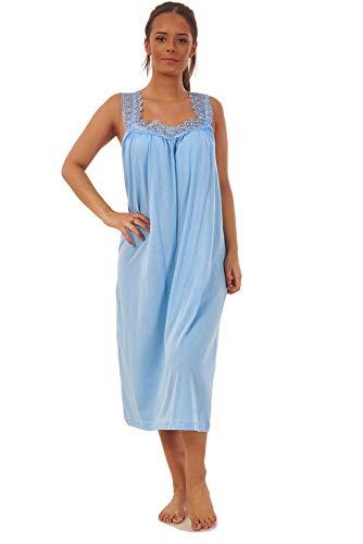 Apparel Ladies Plain Nightdress 100% Cotton V Neck lace Strap Long Nightwear M to 3XL Blue