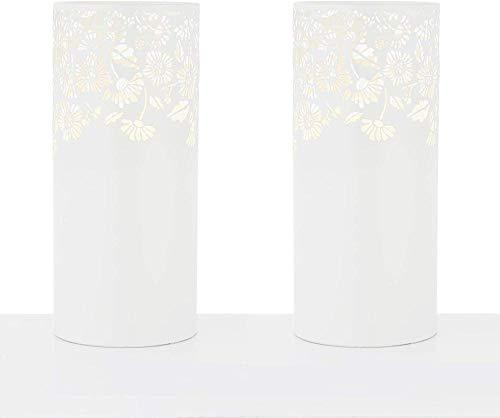 ewrwrwr Paar weiße lasergeschnittene Zylinder-Tischlampen mit Blumenmuster