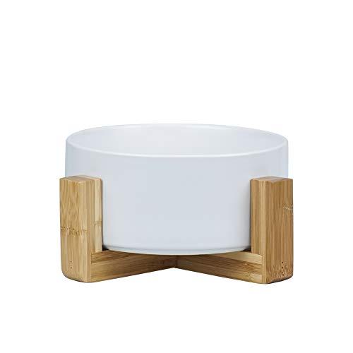 HCHLQLZ Weiß Keramik Hundenapf Futternapf Fressnapf Napf für Hund Katzen mit Massivholz Ständer