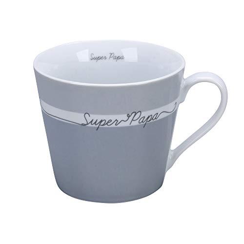 Krasilnikoff - Happy Cup - Becher, Tasse mit Henkel - Super Papa - Porzellan - H9 x Ø10 cm - Volumen: 400 ml