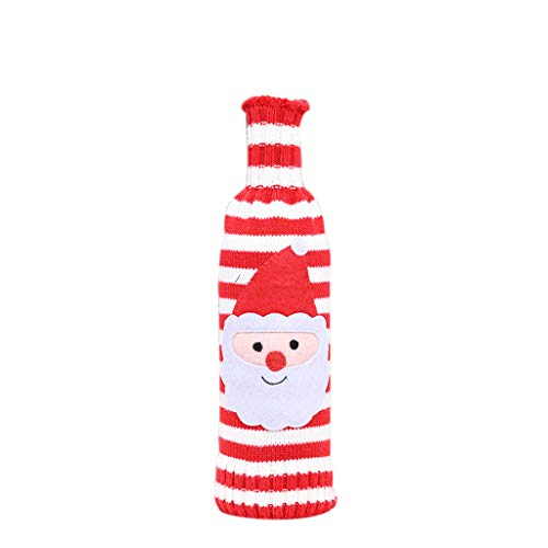 Vcenty Christmas Decorative Handmade Knitted Sweater, Wine Bottle Cover Champagne Bottle Bag New Year Festival Party Home Dining Table Ornaments Xmas Gift Bag Dress Up