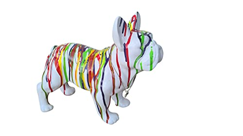 Statue of French Bulldog Ceramic, Standing, Length 12,6 inches. Decoration Laure Terrier Model White Drip