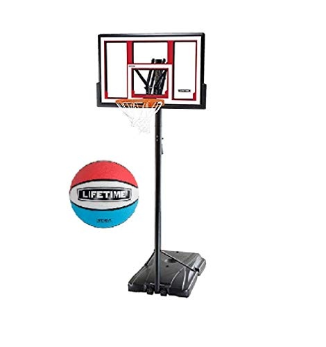 Lifetime 90491 Portable Basketball System, 48 Inch Shatterproof Backboard w/1 Piece Ball Included-...