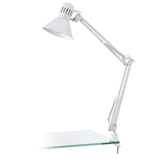 EGLO Tischlampe Firmo, 1 flammige Klemmlampe Vintage, Industrial, Retro, Schreibtischlampe aus Stahl und hochwertigem Kunststoff, Klemmleuchte in Weiß glänzend, Lampe mit Schalter, E27 Fassung