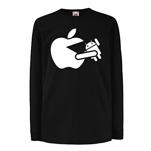 lepni.me T-shirt voor kinderen/meisjes Funny Apple eten een robot - cadeau voor fans van de technologie