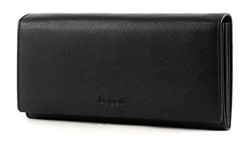 Bugatti Vertice Geldbörse Damen Groß viele Fächer Leder 25CC - Portemonnaie Damen Leder - Portmonee Geldbeutel Damengeldbörse - Schwarz