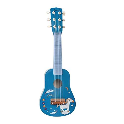 DEWEL Holz Gitarre Kinder Saiteninstrumente Gitarre Spielzeug, 21 Zoll Kindergitarre mit 6 Saiten, Blau