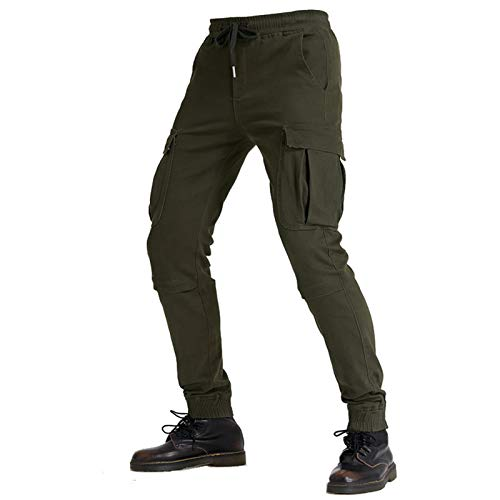 KAISUN Pantalones de moto para hombre con 4 almohadillas protectoras extraíbles, transpirables, resistentes al desgaste, para motocross (verde, W28 / S)