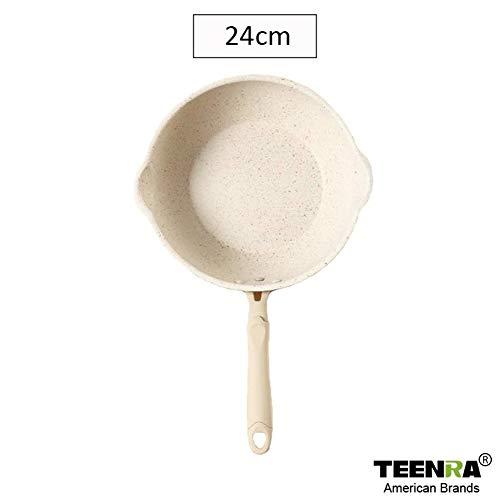 TEENRA 20cm Maifan Stone Wok pan met antiaanbaklaag Aluminium Pannen Japanse Household Wok Keuken Ontbijt Pot (Color : 24cm)