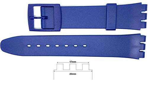 New 17mm (20mm) Sized Resin Strap Compatible for Swatch Watch - Blue - RG14B