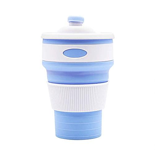 Mosako - Taza de café reutilizable, plegable, para viajes, portátil, para camping, al aire libre (azul claro)
