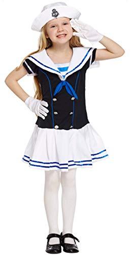 Filles pour Enfants Marine Matelot Mer Cadet Uniforme Journée du Livre Déguisements Costume 4-12 Ans - Bleu, 10-12 Years