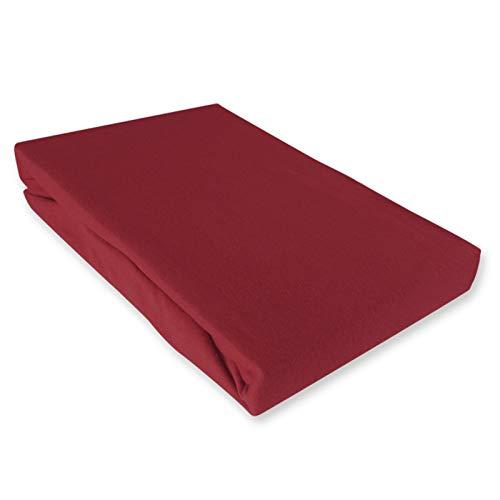 S&S-Shop Sábana bajera ajustable 140-160 cm x 200 cm, color burdeos, certificado Öko – Tex: 2007AN6679
