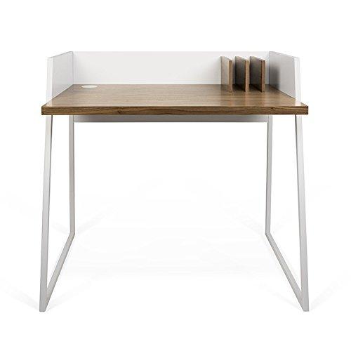 Paris Prix - Temahome - Bureau Volga Blanc Mat & Noyer