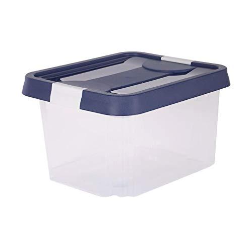 EDA PLASTIQUE Boîte de Rangement Clippy 30 L - Naturel avec Couvercle Bleu et poignées Blanc cérusé - 45,3 x 37,4 x 26,4 cm